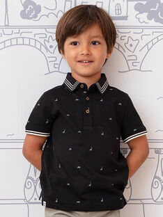 Polo noir brodé dinosaures enfant garcçon BAPOLAGE / 21H3PG21POL090