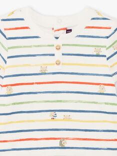 Body écru et bleu à rayures bébé garçon TARAFAEL / 20E1BGQ1BOD001