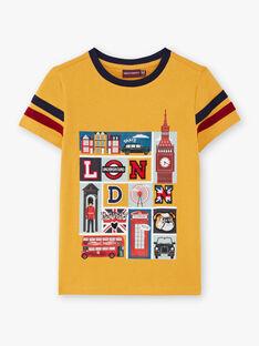 T-shirt jaune et bleu marine enfant garçon BEDOUAGEEX / 21H3PG51TMCB114