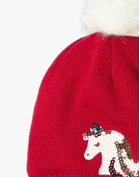 Bonnet rouge licorne en tricot  VUPLETTE / 20H4PFI2BON304