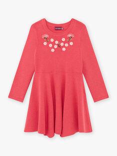 Robe milano rose framboise motif fleuri enfant fille BRICHAETTE / 21H2PFM2ROB308
