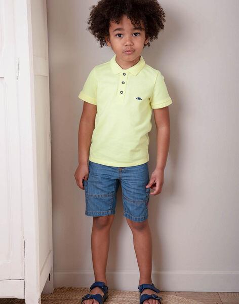 Polo manches courtes uni jaune fluo enfant garçon ZYPOLAGE5 / 21E3PGW4POLB113