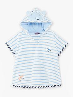 Cape de bain blanc à rayures bleu ciel bébé garçon ZIRICHAR / 21E4BGR1CDB213