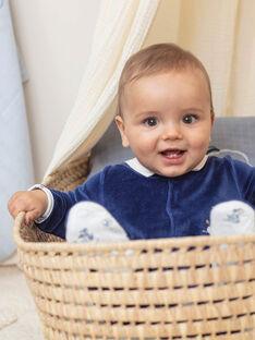 Grenouillère et bonnet bleu marine et blanc naissance garçon BOSCO B / 21H0NG42GRE070
