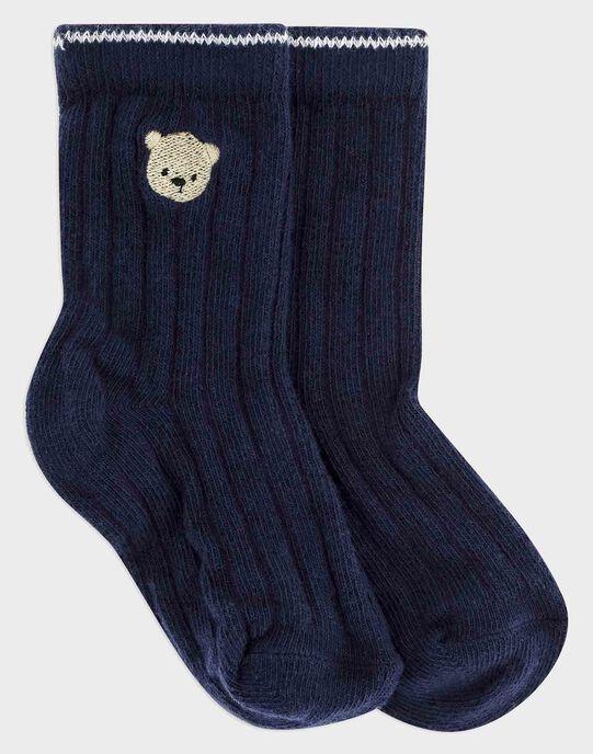 Chaussettes bleu nuit bébé garçon SAMIGUEL / 19H4BGC2SOQ705