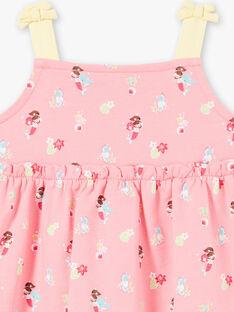 Robe rose à bretelles imprimé sirenes bébé fille ZOLUCIE / 21E1BFQ1ROB305