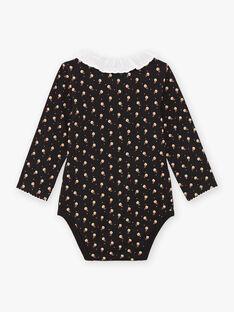 Body manches longues noir col à volant bébé fille BAMIMI / 21H1BFM1BOD090