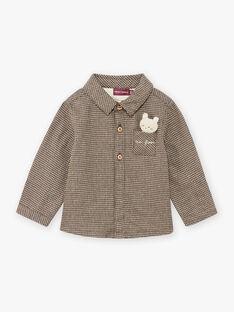 Chemise kaki pied-de-poule et peluche ours bébé garçon BASAINT / 21H1BGO1CHM814