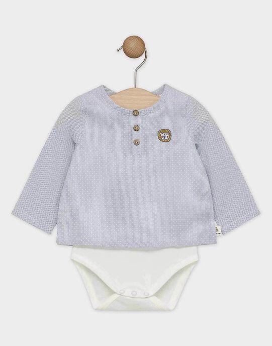 Body chemise bébé garçon écru avec chemise en popeline fantaisie bleu grisé  SAKALILOU / 19H1BG61BOD205