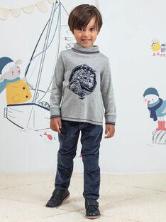 Pantalon bleu à empiècements en velours côtelé enfant garçon BIOLAGE / 21H3PGL2PANC230