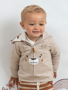 Sweat à capuche gris motif ourson bébé garçon BALEO / 21H1BGJ1JGH811