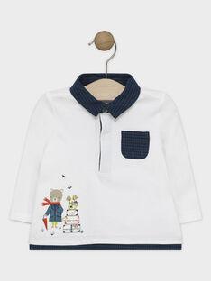 Polo bébé garçon écru avec apport de pied de poule au col et en bas de vêtement  SAMILO / 19H1BGC1POL001