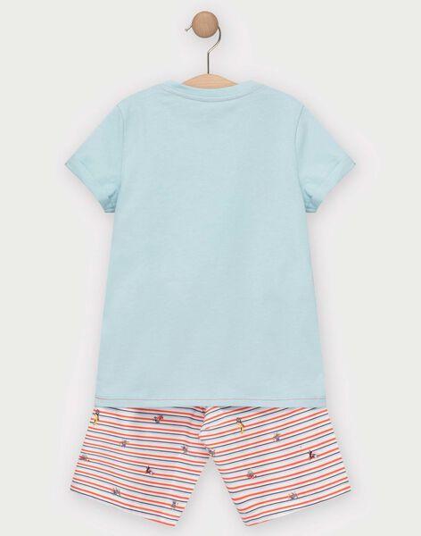 Pyjama short bleu et rouge imprimé enfant garçon TEALIAGE / 20E5PGE1PYJC219