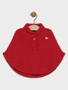 Poncho en tricot framboise bébé fille SANICOLE / 19H1BFE1PON308