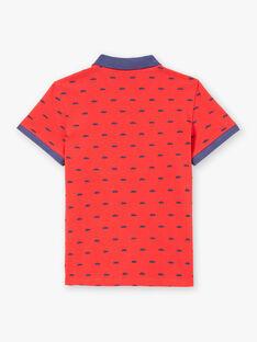 Polo manches courtes rouge brodé enfant garçon ZYPOLAGE2 / 21E3PGW6POL050