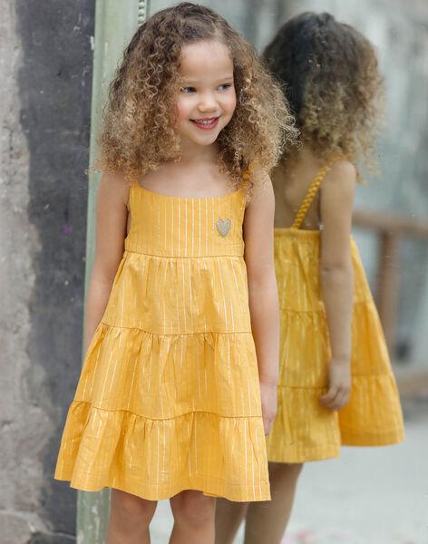Robe à bretelles jaune et rayures dorées enfant fille ZROBETTE 5 / 21E2PFW5RBS109