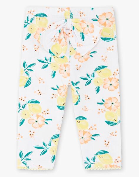 Legging blanc imprimés citrons et fleurs bébé fille ZANALA / 21E4BFO1CAL000