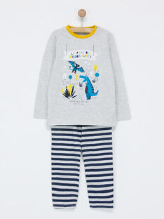 050be622c8a6d Ensemble pyjama gris chiné NEFDAGE / 18E5PG93PYJ943