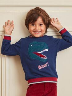 Sweat à capuche bleu marine et rouge enfant garçon BUSWETAGE2 / 21H3PGF2SWE705