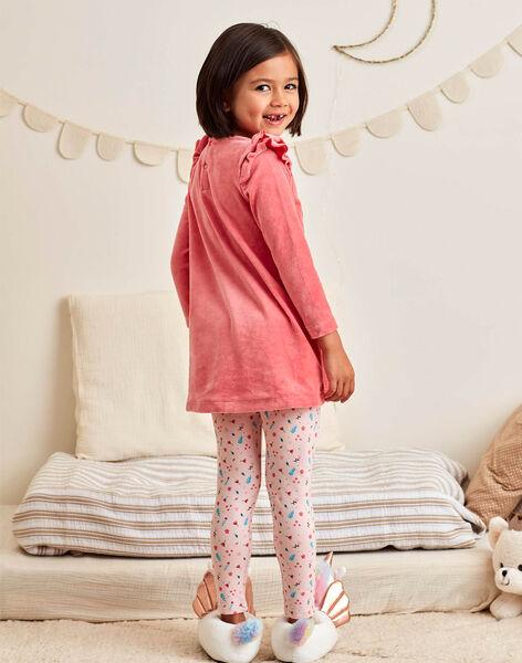 Ensemble chemise de nuit et legging rose corail motif licorne enfant fille BEBOUNETTE / 21H5PF71CHN419