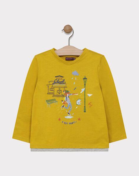 Tee-shirt manches longues jaune imprimé renard garçon SARIMAGE / 19H3PG42TMLB106