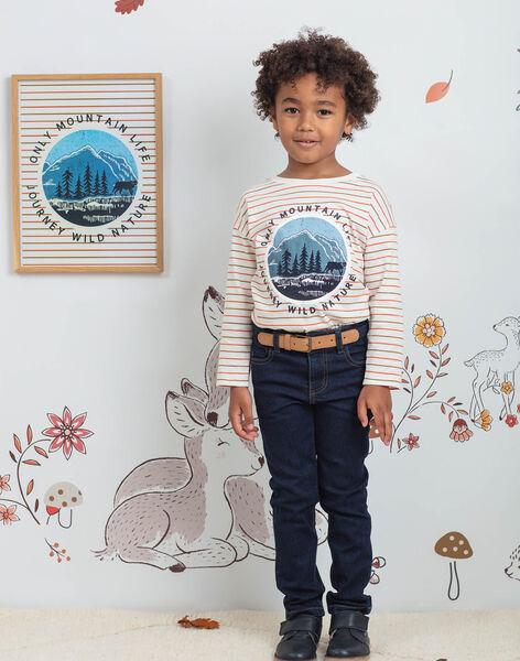 Jean bleu foncé avec ceinture enfant garçon BIDISAGE / 21H3PGJ1JEAP270