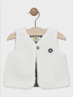 Cardigan sans manches bébé garçon en fourrure synthétique, doublé en popeline de coton   SAMATT / 19H1BGC1CSMA002