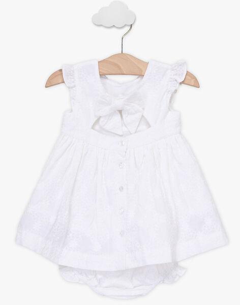 Robe blanche brodée et bloomer bébé fille TALEA / 20E1BFJ1ROB000