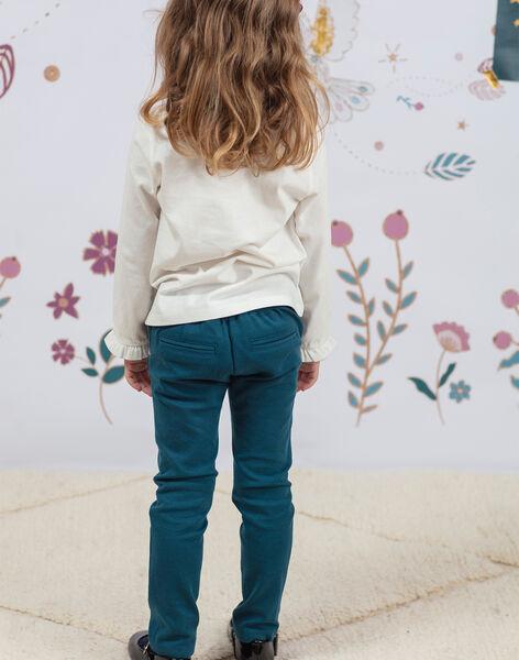Pantalon à pinces bleu canard enfant fille BEMILETTE3 / 21H2PF91PAN714