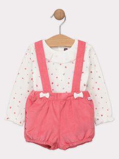 Ensemble : body écru imprimé avec short à bretelles en velours rose bébé fille SANOLA / 19H1BFE1ENS001