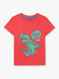 T-shirt manches courtes rouge imprimé dinosaure enfant garçon ZUZAGE3 / 21E3PGL2TMC050