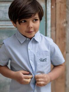 Chemise manches courtes bleue à fines rayures enfant garçon ZITOTAGE / 21E3PGT1CHM000