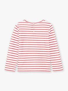T-shirt marinière rose fuchsia enfant fille BROMARETTE2 / 21H2PFB6TML001