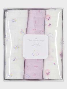 Lot de 3 langes en gaze de coton bébé fille TYLOVE / 20E0AFF1LAN000