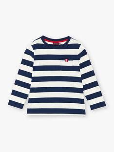 T-shirt manches longues rayé bleu et blanc enfant garçon ZAXOUAGE1 / 21E3PGK7TML001