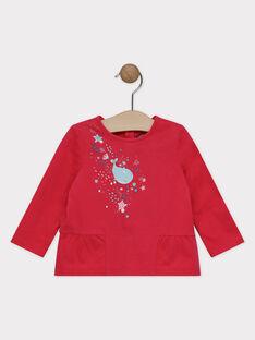 T-shirt framboise animé bébé fille SANOEL / 19H1BFE2TML308