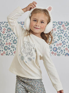 T-shirt écru à animation Fleur des Neiges enfant fille BLACOLETTE / 21H2PFO2TML001
