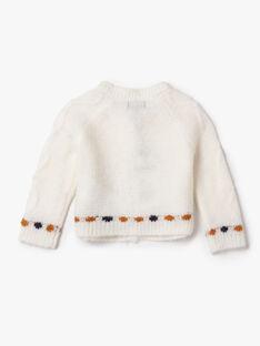 Cardigan écru en tricot fantaisie VAROZENNE / 20H1BFY2CAR001