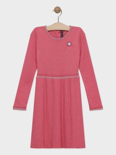 Robe rose tricot plissé fille SYPANETTE / 19H2PFE1ROB307