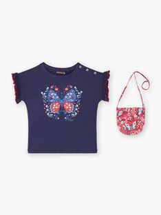 T-shirt bleu impression paillettes avec sacoche ZOTISETTE / 21E2PFB1TMC216