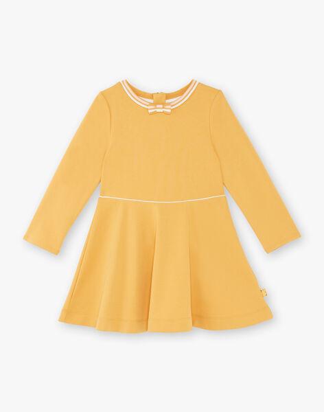 Robe jaune maille milano à détail noeud ZLOMETTE3 / 21E2PFK6ROBB106