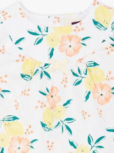 Chemisier blanc à imprimés citrons et fleurs bébé fille ZANINA / 21E1BFO2CHE000