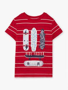 T-shirt rouge à rayures motifs skateboards enfant garçon BADROAGE / 21H3PG11TMC050