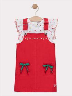 Ensemble 2 pièces avec robe salopette rouge fille  TUFETTE / 20E2PFH2ENS050