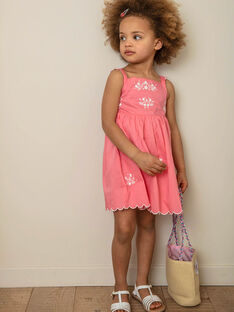 Robe rose à bretelles brodée enfant fille ZUKOKETTE / 21E2PFT2CHSD313