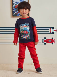 Pantalon uni rouge enfant garçon BOGITAGE / 21H3PGM3PANF528