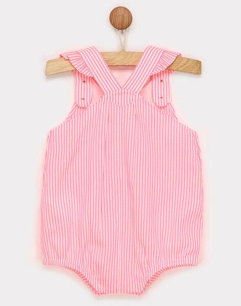 Barboteuse à rayures rose fluo et broderies bébé fille RAVANILLE / 19E1BFQ1BARD311
