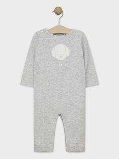 Combinaison gris chiné en coton et laine bébé garçon SYBATISTE / 19H0CGM1CBL943