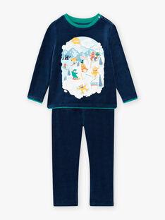 Ensemble pyjama en velours motif monstres au ski enfant garçon BISKIAGE / 21H5PG72PYJ717