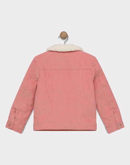 Veste en velours rose et intérieur sherpa fille SOUBIMETTE / 19H2PF71VESD300